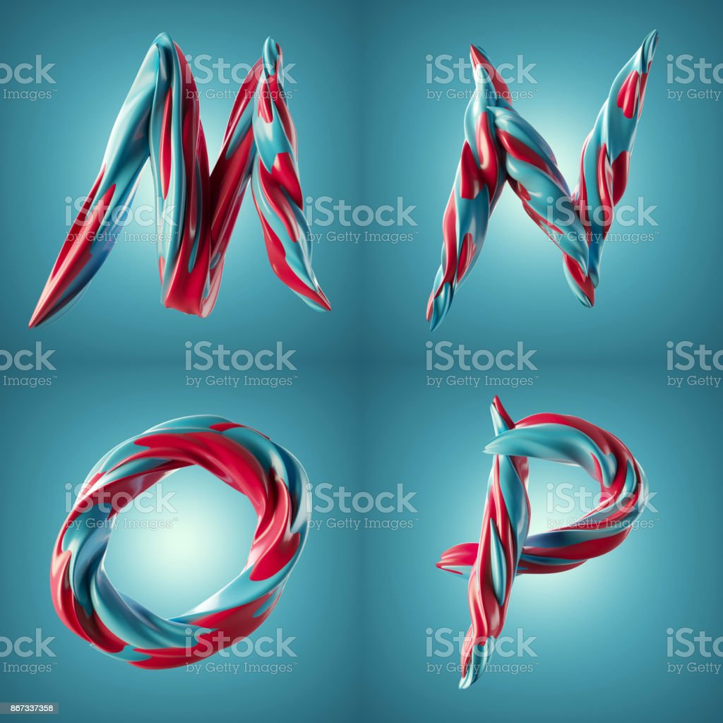 3d render of twisted colorful letters with shiny paint surface effect stock photo