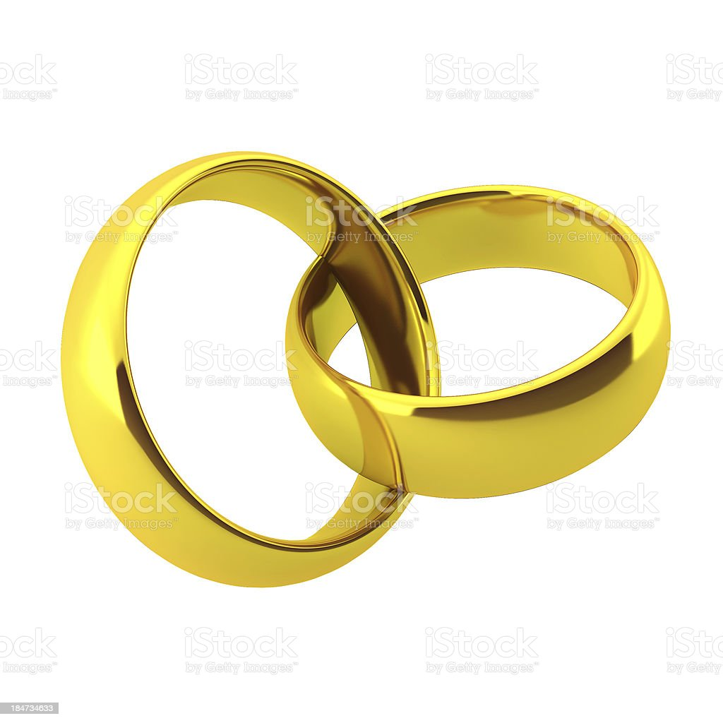 3d render of two golden wedding rings royalty-free stock photo