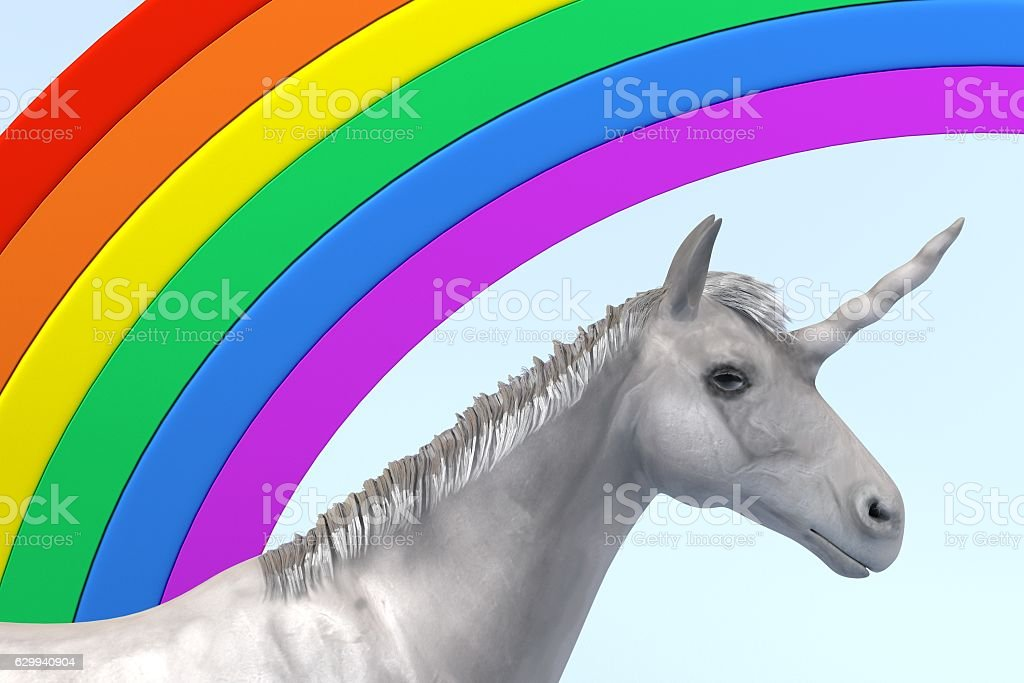 3d render of unicorn with rainbow stock photo