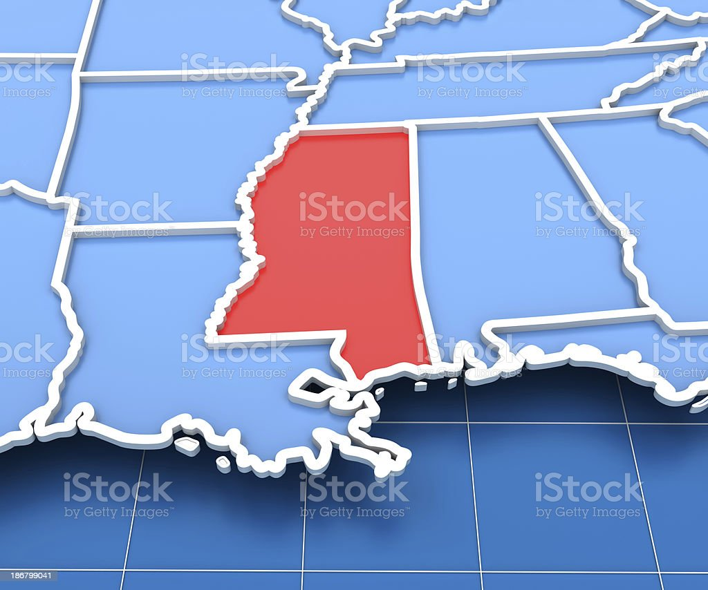 3d render of USA map with Mississippi state highlighted stock photo
