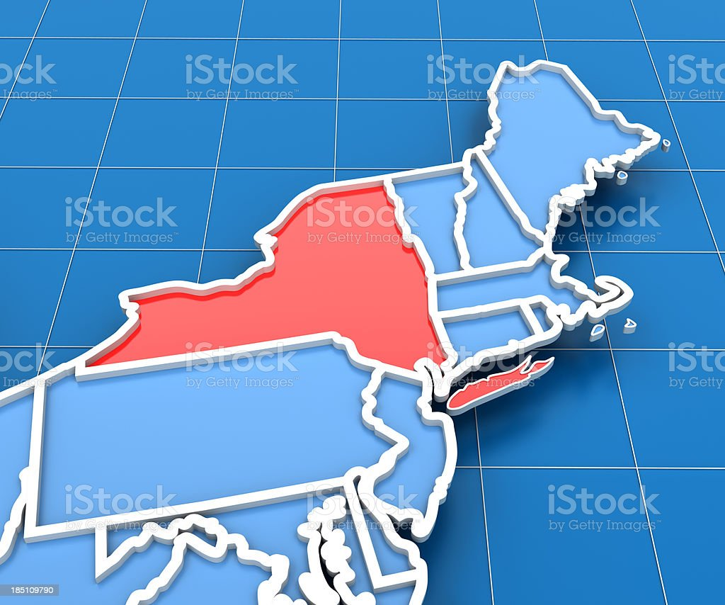 3d render of USA map with New York State highlighted royalty-free stock photo