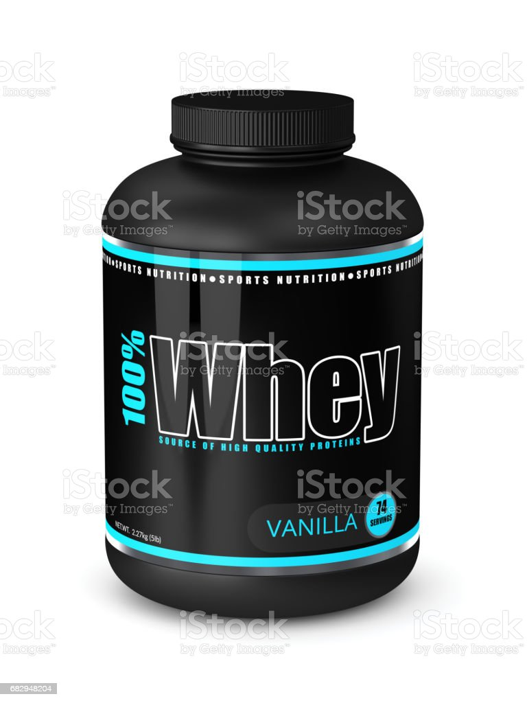 3d render of whey proteins in container over white royalty-free stock photo