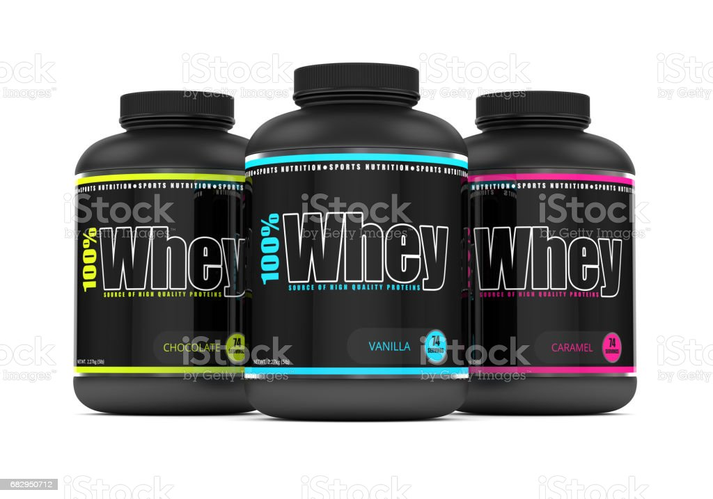 3d render of whey proteins in containers over white royalty-free stock photo