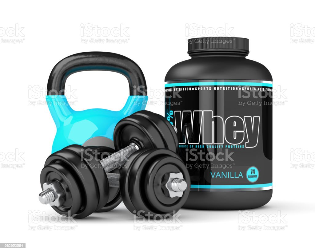3d render of whey proteins with dumbbells and kettlebells royalty-free stock photo