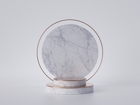 istock 3d render of white marble round pedestal isolated on white background, gold frame, memorial board, cylinder steps, abstract minimal concept, blank space, clean design, luxury minimalist mockup 1169371281