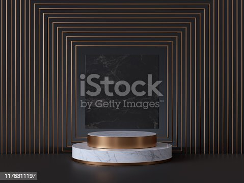 istock 3d render of white pedestal steps isolated on black, square marble background, memorial board, art deco geometric frame, abstract minimal concept, blank space, clean design, minimal fashion mockup 1178311197