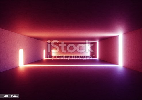 istock 3d render of wide abstract illuminated empty corridor interior made of gray concrete, glowing red lines with shadow, daylight tunnel with no exit, violet light rays, minimalistic space 940108442