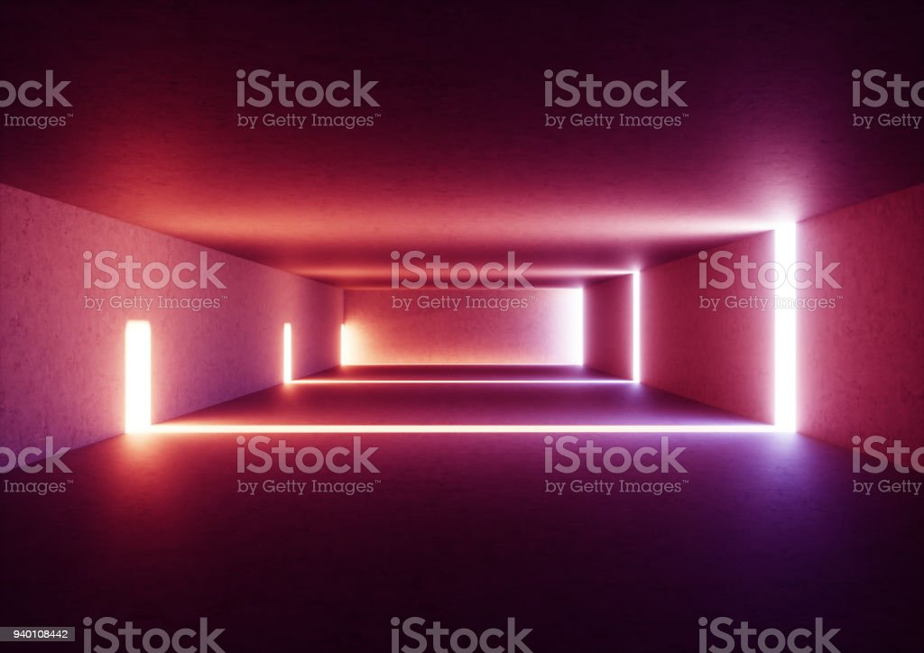 3d render of wide abstract illuminated empty corridor interior made of gray concrete, glowing red lines with shadow, daylight tunnel with no exit, violet light rays, minimalistic space stock photo