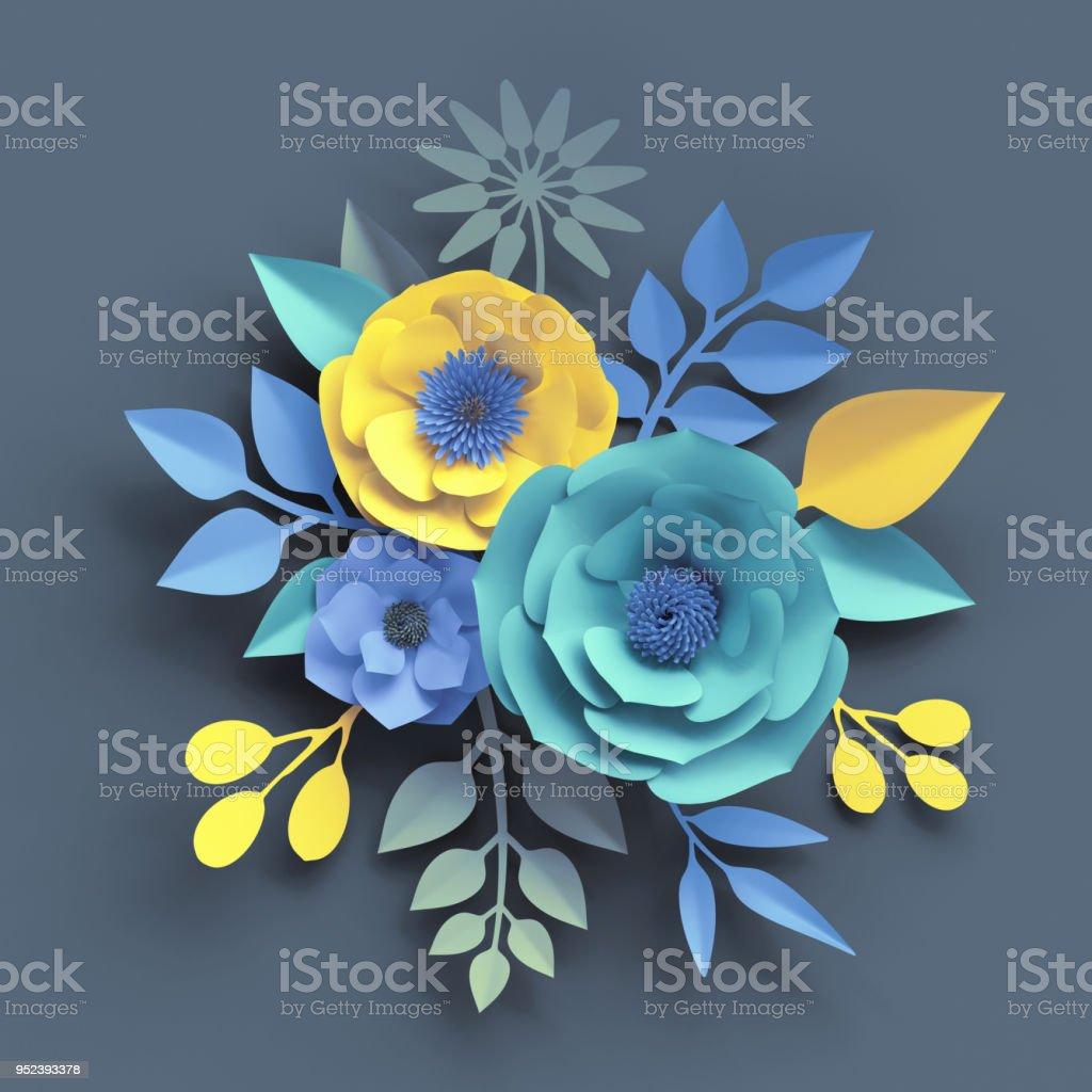 3d Render Paper Craft Flowers Botanical Wallpaper Floral Bouquet