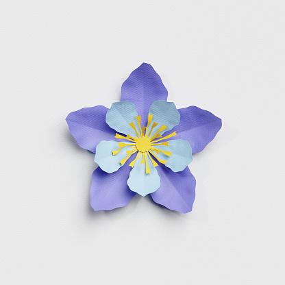 istock 3d render, paper cut decor, blue flower, isolated botanical clip art element 816259930