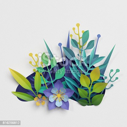 istock 3d render, paper cut decor, meadow flowers and herbs,earth day greeting card, isolated botanical clip art elements 816256812
