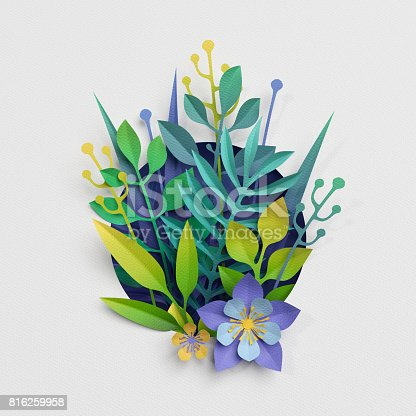istock 3d render, paper cut decor, meadow flowers and herbs,earth day greeting card, isolated botanical clip art elements 816259958