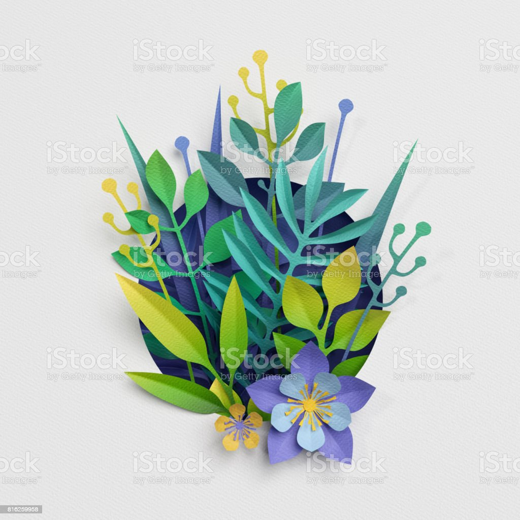 3d render, paper cut decor, meadow flowers and herbs,earth day greeting card, isolated botanical clip art elements stock photo