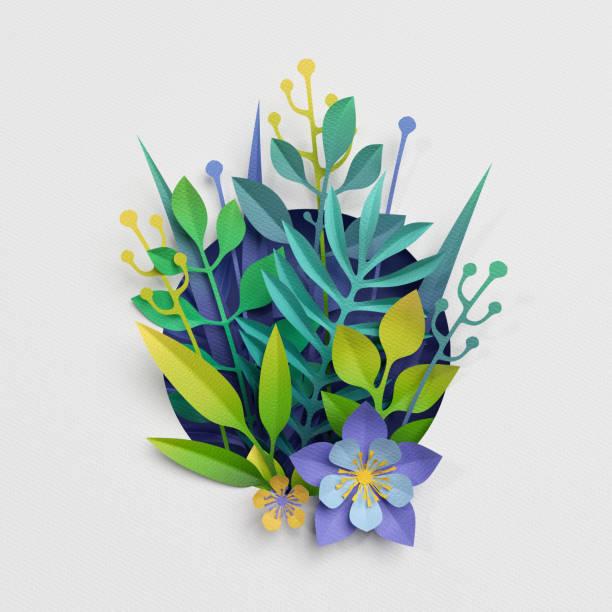 rendu 3D, papier découpé décor, fleurs de la Prairie et herbes, carte de voeux de jour de la terre, isolement des éléments de botanique clip art - Photo