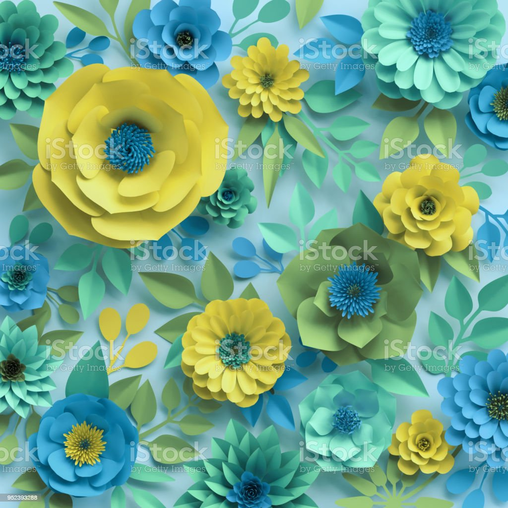 3d Render Paper Flowers Botanical Background Floral Wallpaper