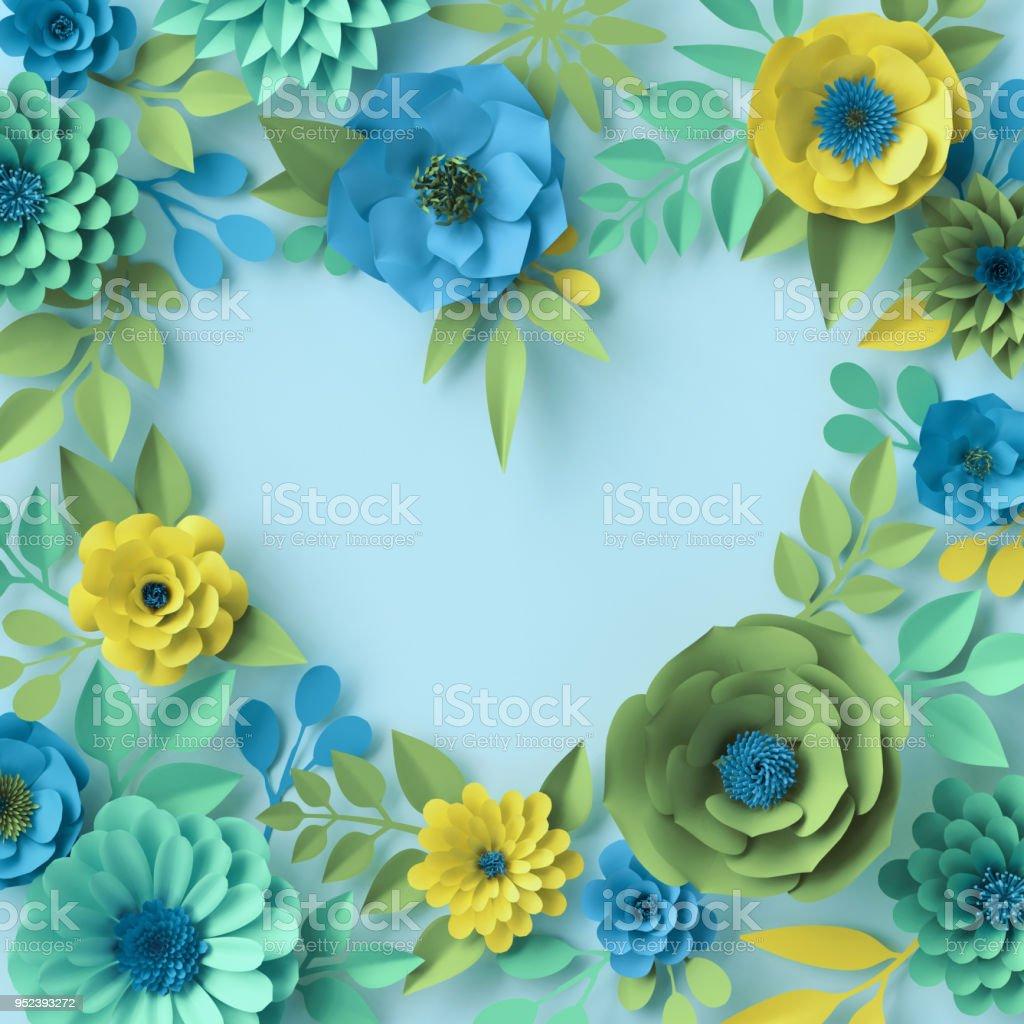 Renderiza O 3d Flores De Papel Bot Nica Papel De Parede Cora O  -> Modelos De Papel De Parede Em Forma De Flores