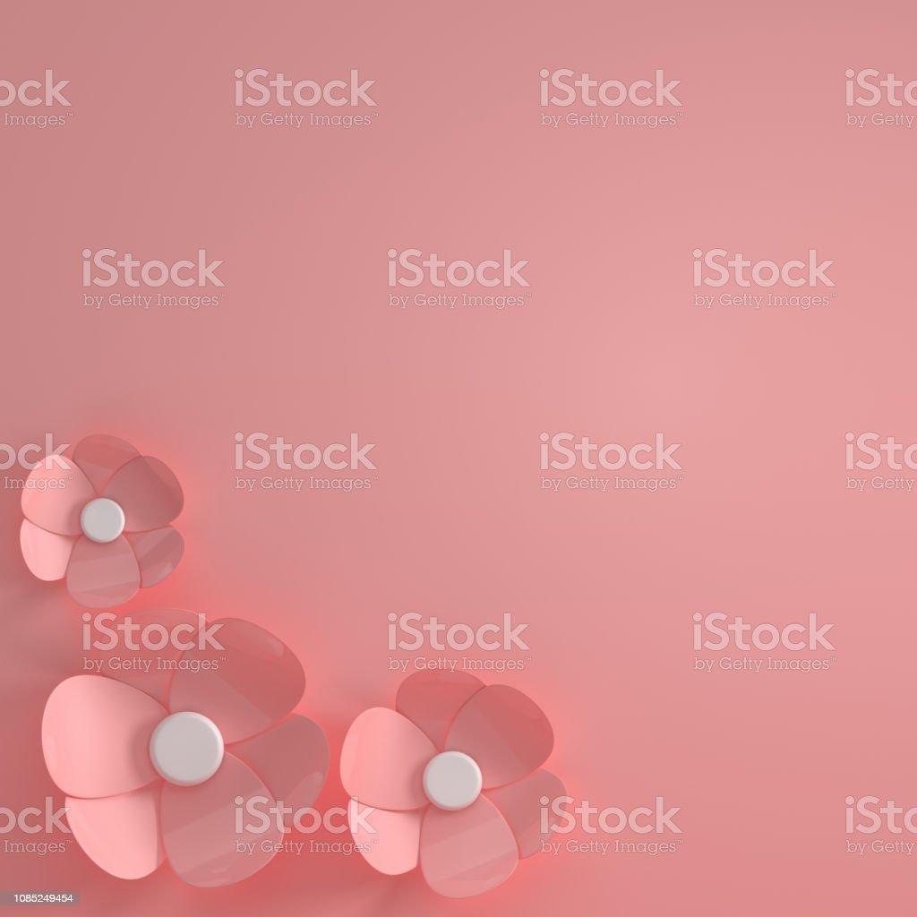 3d Render Paper Flowers Digital Illustration Pink Pastel