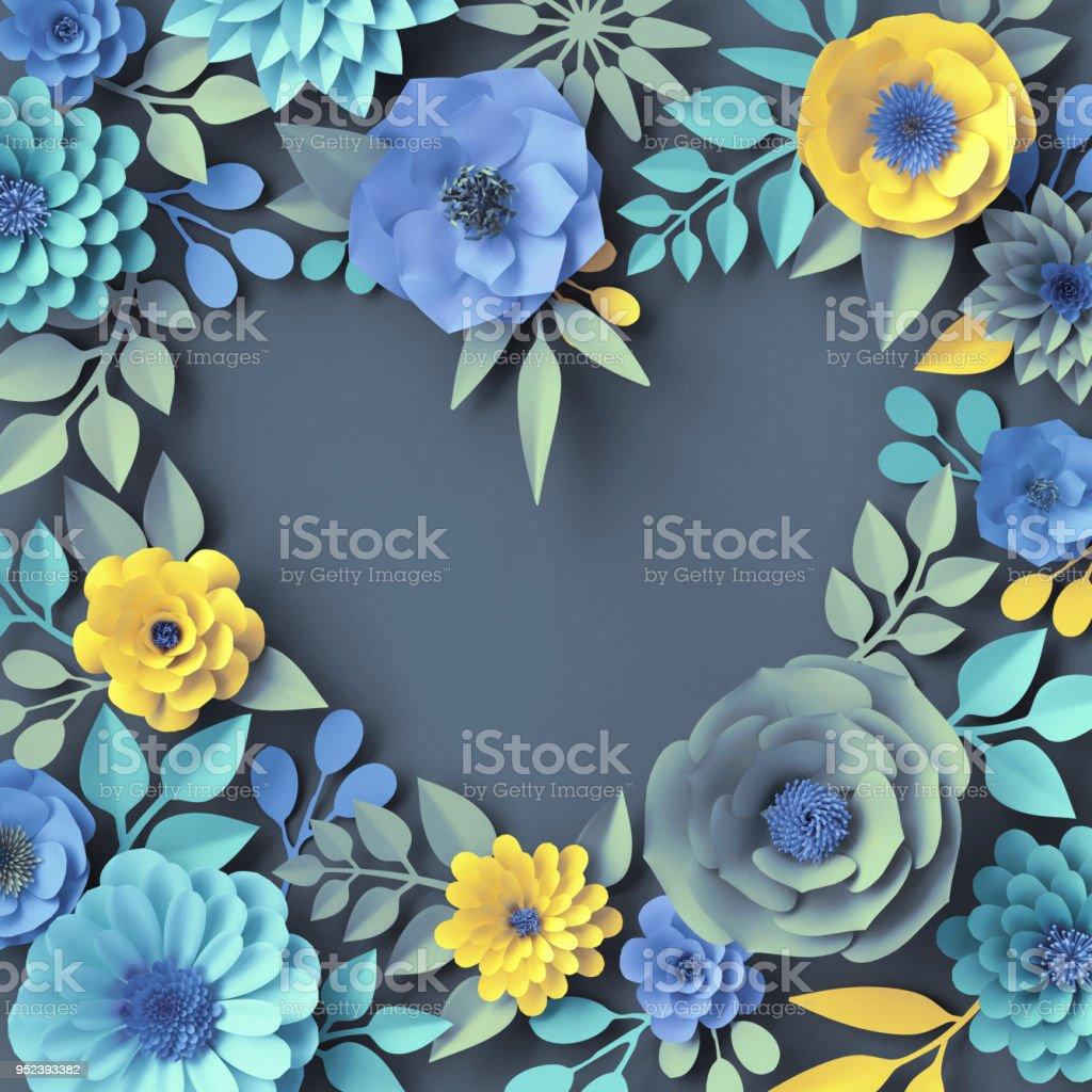 3d Render Paper Flowers Floral Frame Heart Shape Botanical Wallpaper