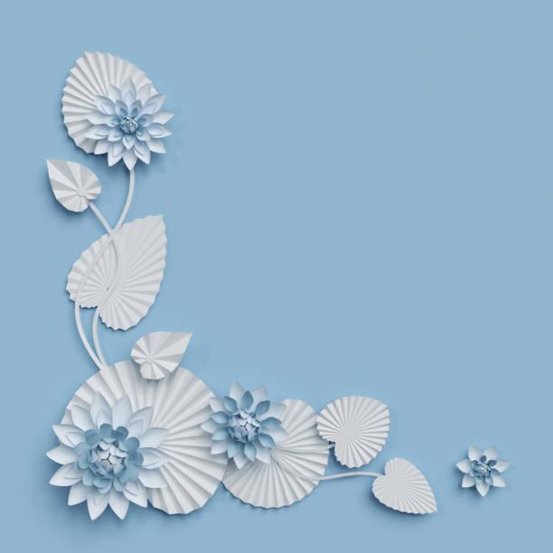 3d render, lotusblumen aus papier, blaue wanddekoration, grenze, weiße seerose, blätter, ecke gestaltungselement, isoliert auf weißem hintergrund - lotus zeichnung stock-fotos und bilder