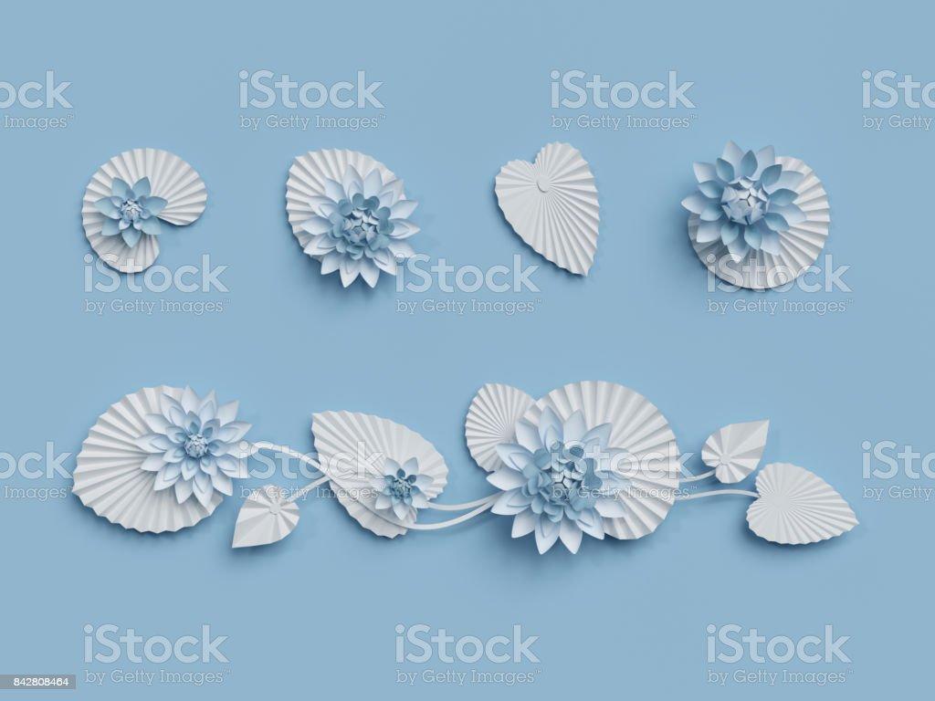3d render paper lotus flowers blue wall decoration border white 3d render paper lotus flowers blue wall decoration border white water lily mightylinksfo