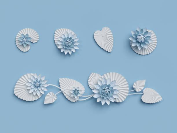 3d render, lotusblumen aus papier, blaue wanddekoration, grenze, weiße seerose, blätter, gestaltungselement, isoliert auf weißem hintergrund - lotus zeichnung stock-fotos und bilder