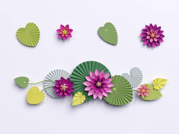 3d render, lotus papierblumen, wanddekoration, grenze, rosa seerose grüne blätter, design-elemente isoliert auf weißem hintergrund - lotus zeichnung stock-fotos und bilder