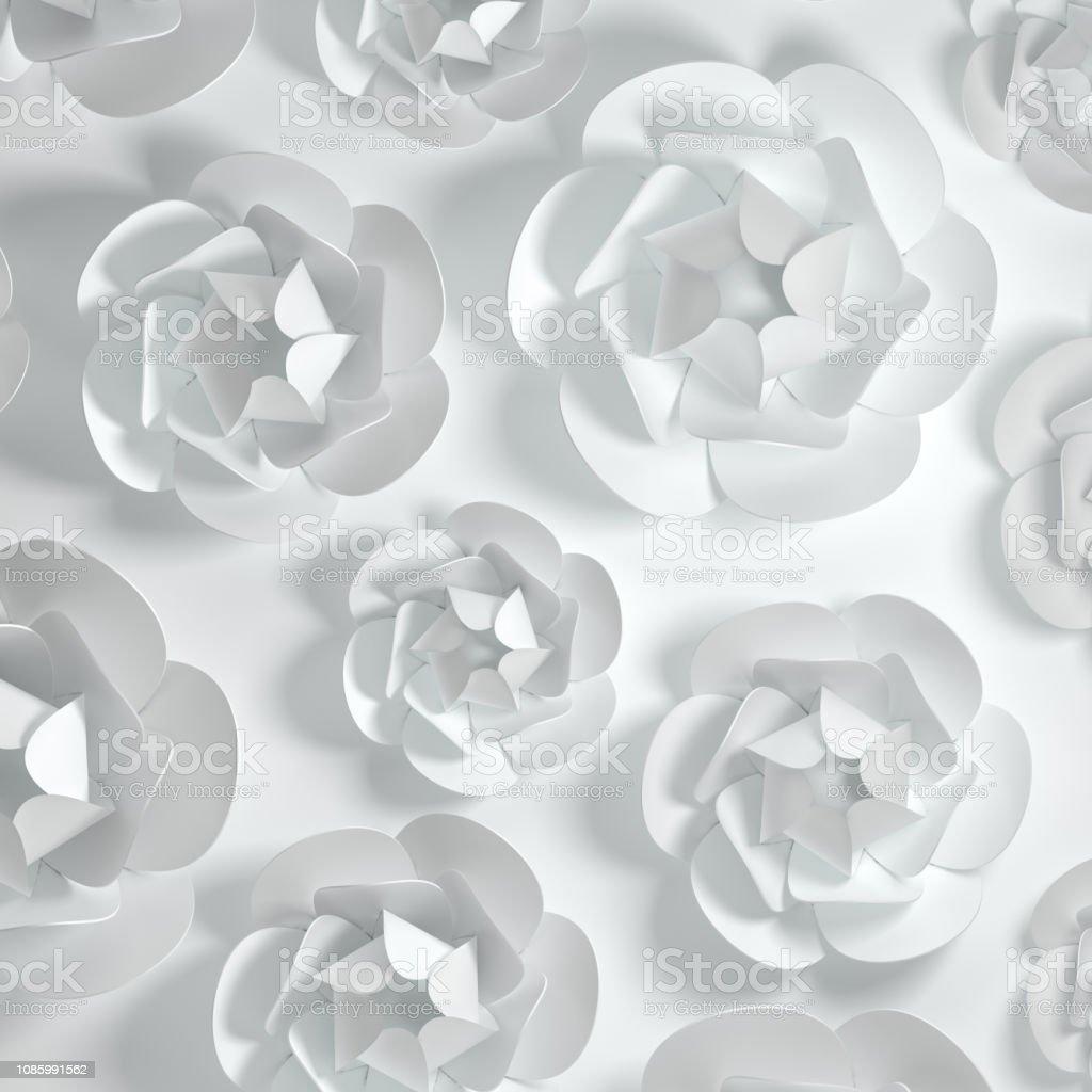 3d Render Paper Peony Rose Flowers Digital Illustration
