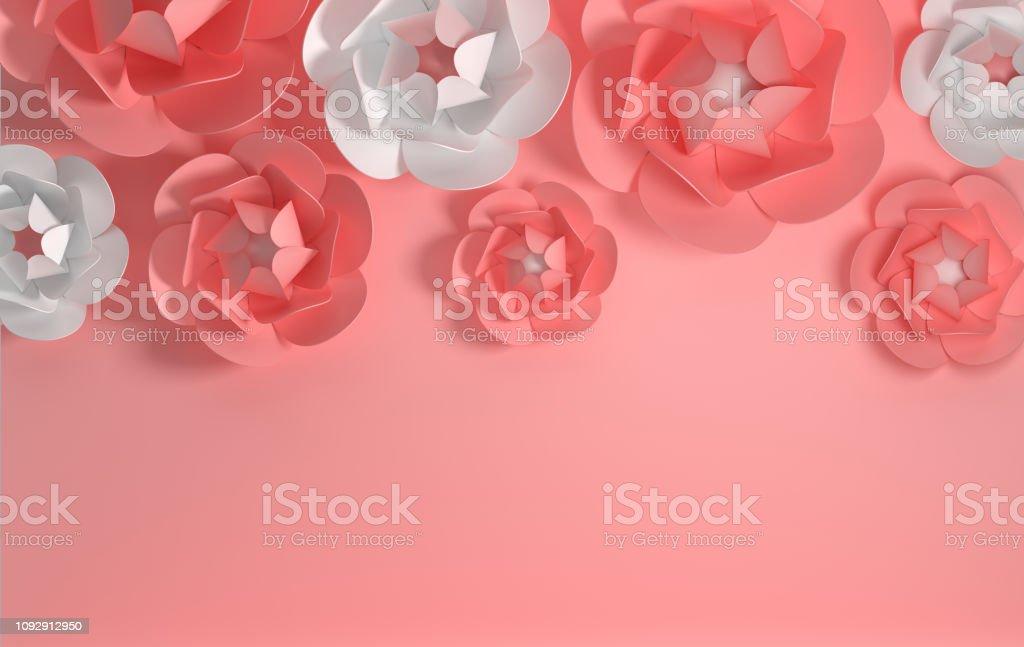 3d Render Paper Peony Roses Digital Illustration Pastel Pink