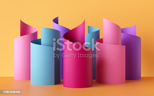 3d render, paper ribbon rolls, abstract shapes, colorful fashion background, pink blue yellow neon colors, swirl, scroll, curl, spiral, cylinder