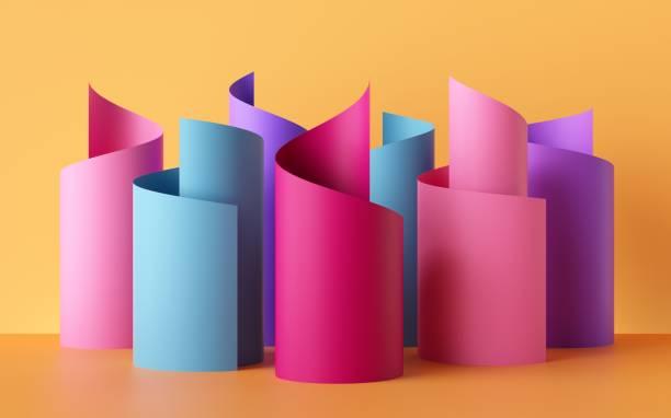 render 3d, rollos de cinta de papel, figuras abstractas, fondo colorido de moda, colores de neón amarillo azul rosa, remolino, desplazamiento, enrollamiento, espiral, cilindro - hélice forma geométrica fotografías e imágenes de stock