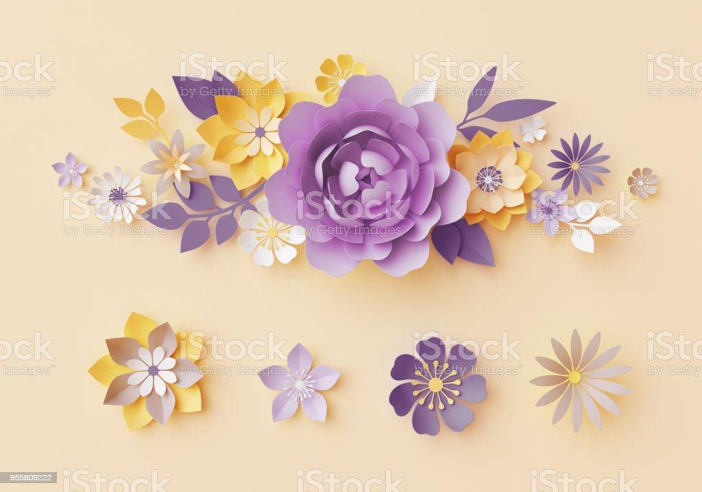 3d Render Pastel Paper Craft Flowers Botanical Design Elements