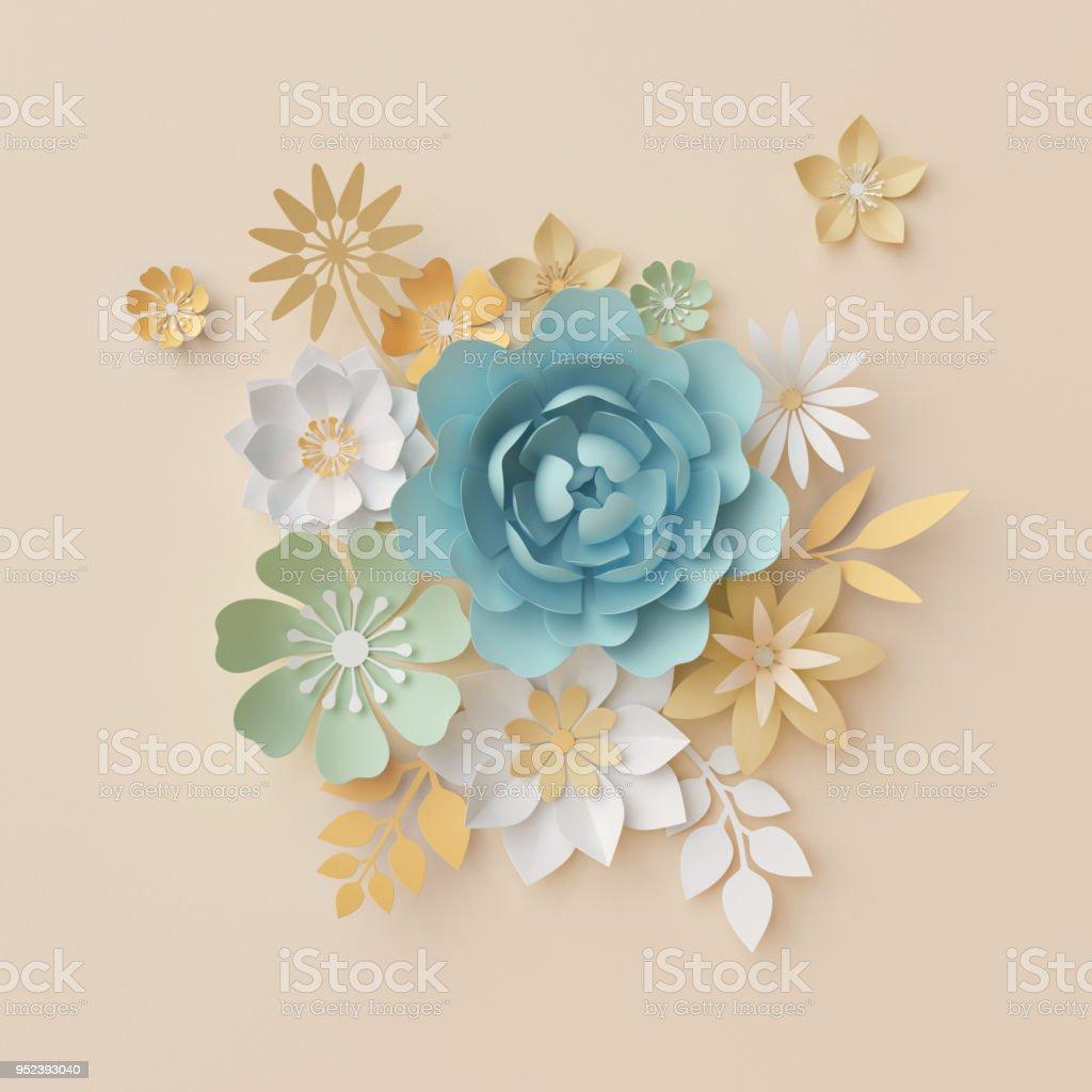 Rendu 3D, Fleurs En Papier Pastel, Fond Botanique, Beau Bouquet,  Composition Florale