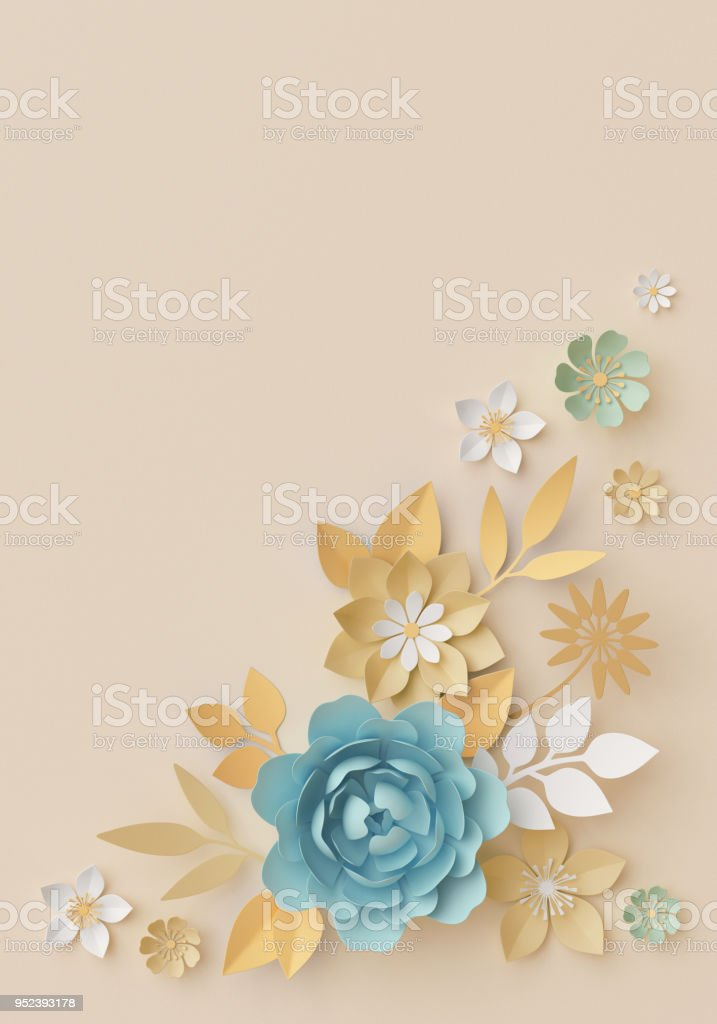 3d Render Pastel Paper Flowers Botanical Background Corner Element Beautiful Bouquet Floral Arrangement Isolated Clip Art Nursery Wall Decor Baby Blue Rose Peony Daisy Leaves Stock Photo Download Image Now Istock