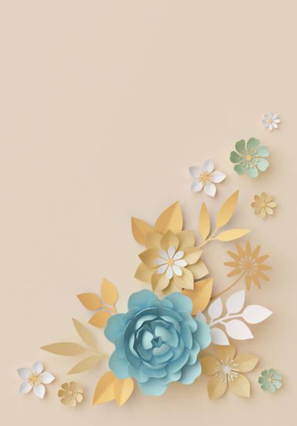 3d render, pastell papierblumen, botanischen hintergrund, eckelement, schönen blumenstrauß, blumenarrangement, isolierte clipart, kinderzimmer wanddekoration, baby blue, rose, pfingstrose, daisy, blätter - sommerfest kindergarten stock-fotos und bilder