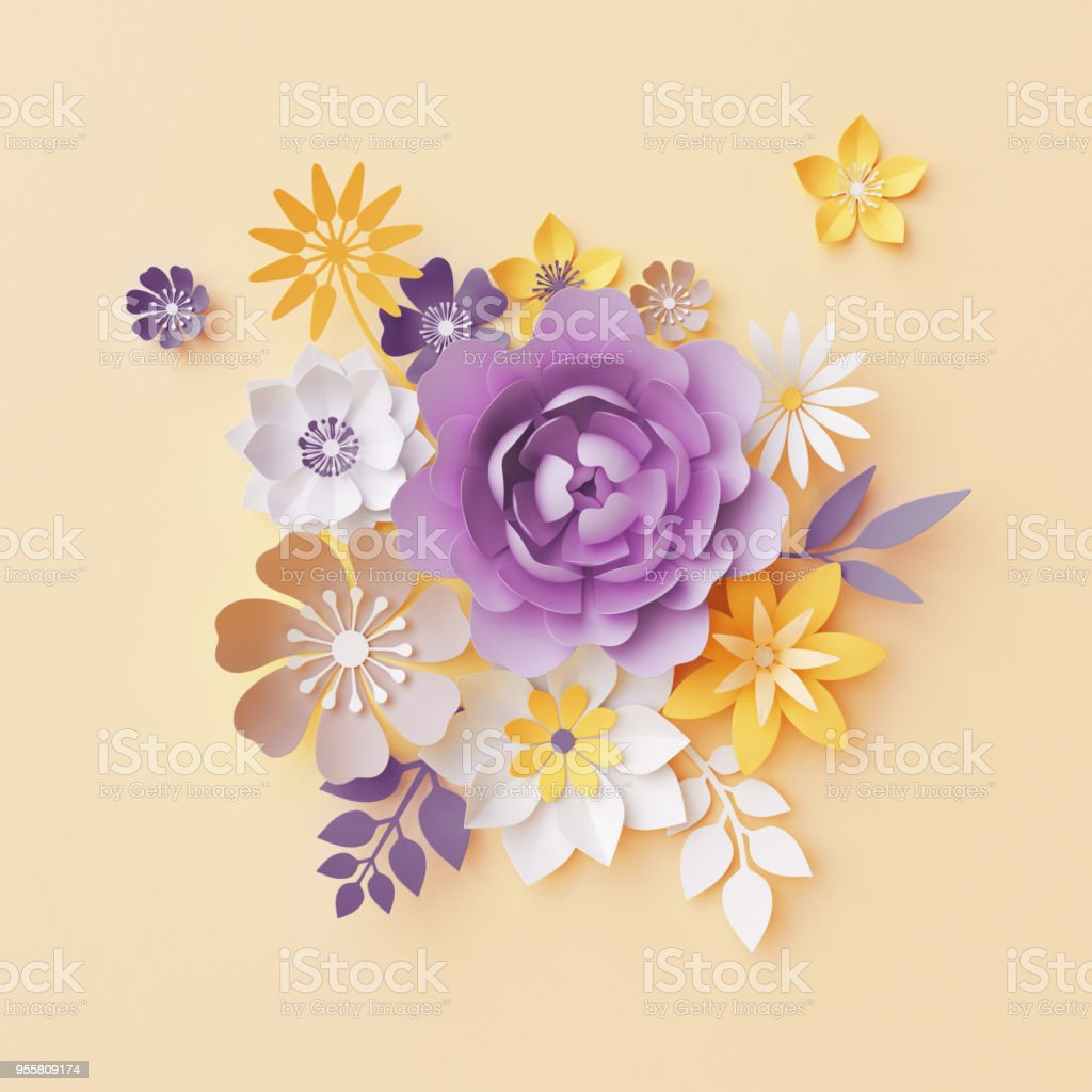 3d render, pastel paper flowers, botanical background, violet rose, peony, yellow daisy, leaves, beautiful bouquet, floral arrangement, nursery wall decor stock photo