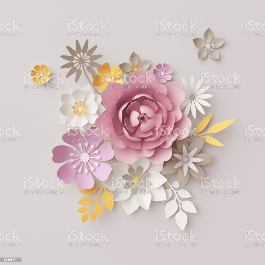3d render pastel paper flowers isolated on gray botanical background