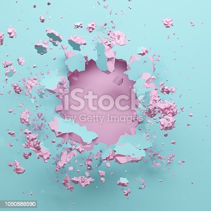 istock 3d render, pastel pink blue broken wall, abstract fashion background, blank space for text, explosion, bullet hole, destruction, digital illustration 1050886590