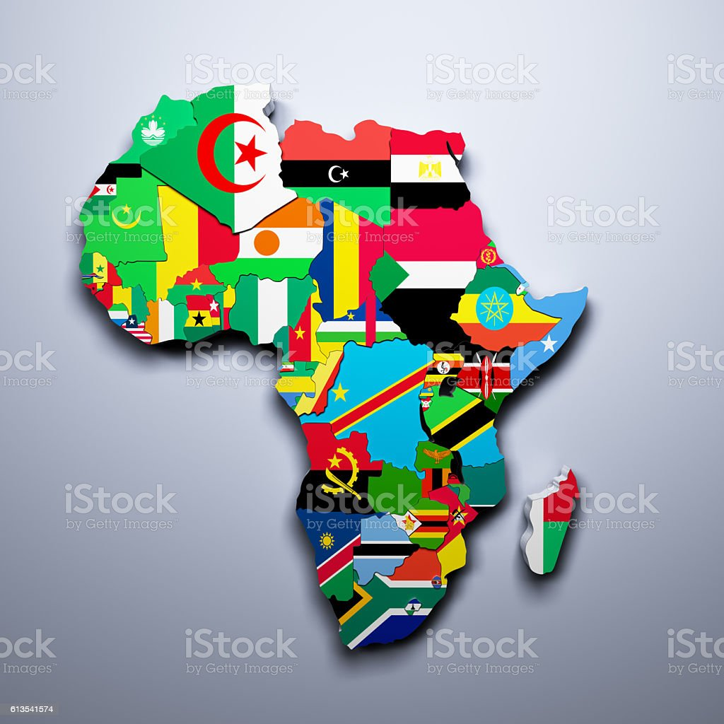 AFRICA MAP WITH FLAGS OF THE COUNTRIES 3d render stock photo