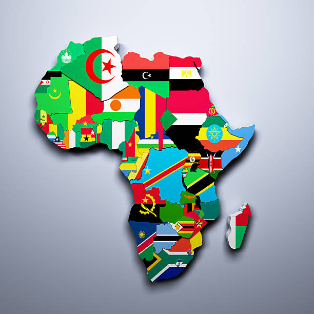 AFRICA MAP WITH FLAGS OF THE COUNTRIES 3d render - Photo