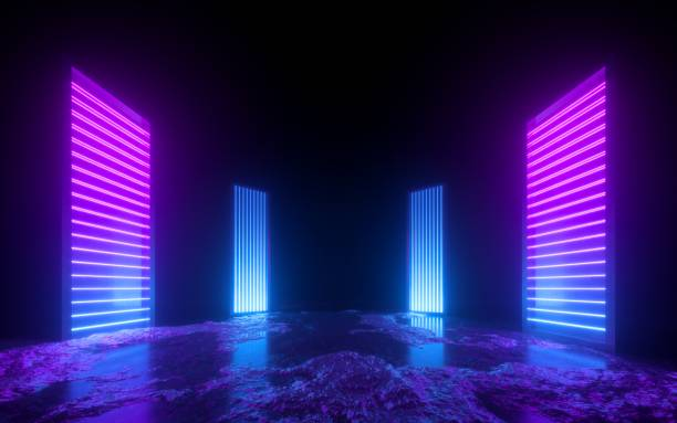 3d render, pink blue neon abstract background, glowing vertical panels in ultraviolet light, futuristic power generating technology, terrain 3d render, pink blue neon abstract background, glowing vertical panels in ultraviolet light, futuristic power generating technology, terrain stage performance space stock pictures, royalty-free photos & images