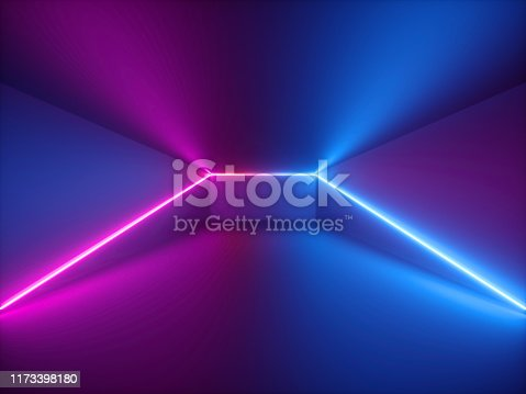 istock 3d render, pink blue neon light, abstract background with glowing lines, cyber space in virtual reality, night club room interior, fashion podium or stage, empty corridor in ultraviolet spectrum 1173398180