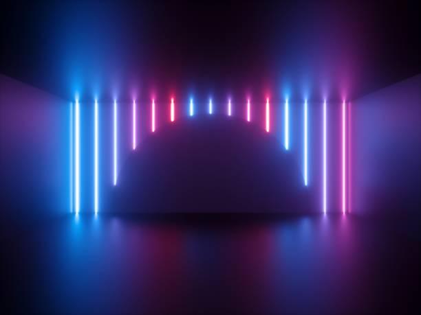 3d rendering, rosafarbenes neonlicht, senkrecht leuchtende linien, runde form, ultraviolettes spektrum, showbühne, abstrakter hintergrund - arkade stock-fotos und bilder
