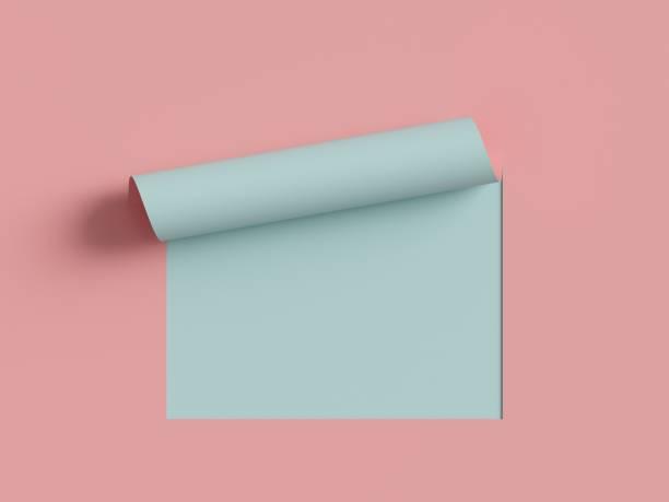 3d-rendering, rosa blaues notenpapier, geschwungene ecke, seitenkurve. abstrakter kreativer hintergrund, moderner mock up. design-element für werbung und werbebotschaft. - klapprahmen stock-fotos und bilder