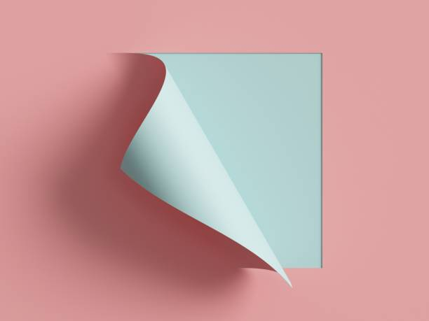 3d render, pink blue note paper, curled corner, page curl. abstract creative background, modern mock up. design element for advertising and promotional message. - strona zdjęcia i obrazy z banku zdjęć
