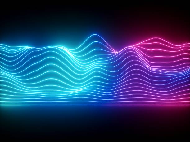 3d render, pink blue wavy neon lines, electronic music virtual equalizer, sound wave visualization, ultraviolet light abstract background - spectrum stock pictures, royalty-free photos & images