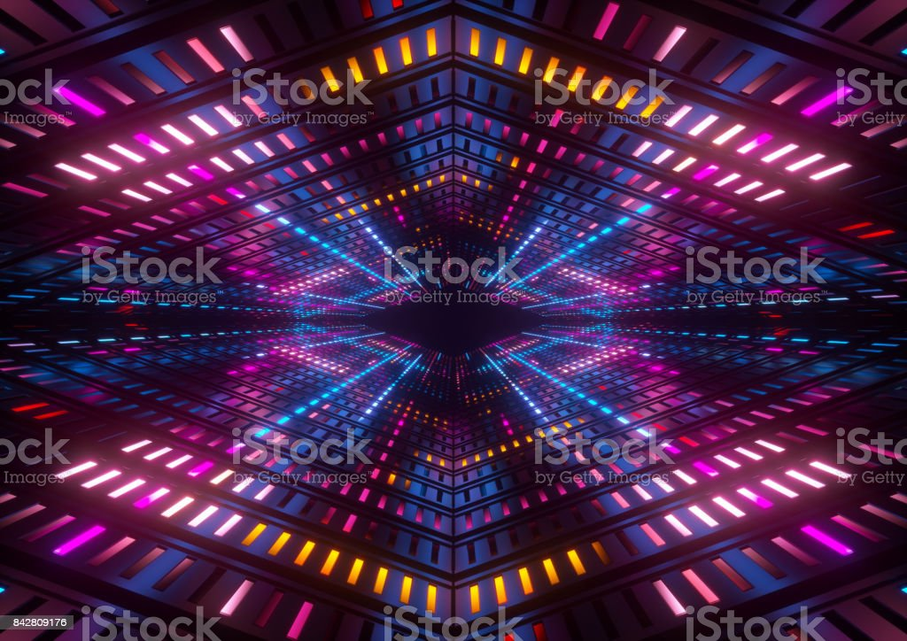 3d render, pink blue yellow neon lights, bright colorful tunnel, abstract geometric background royalty-free stock photo