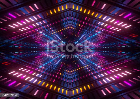 istock 3d render, pink blue yellow neon lights, bright colorful tunnel, abstract geometric background 842809176
