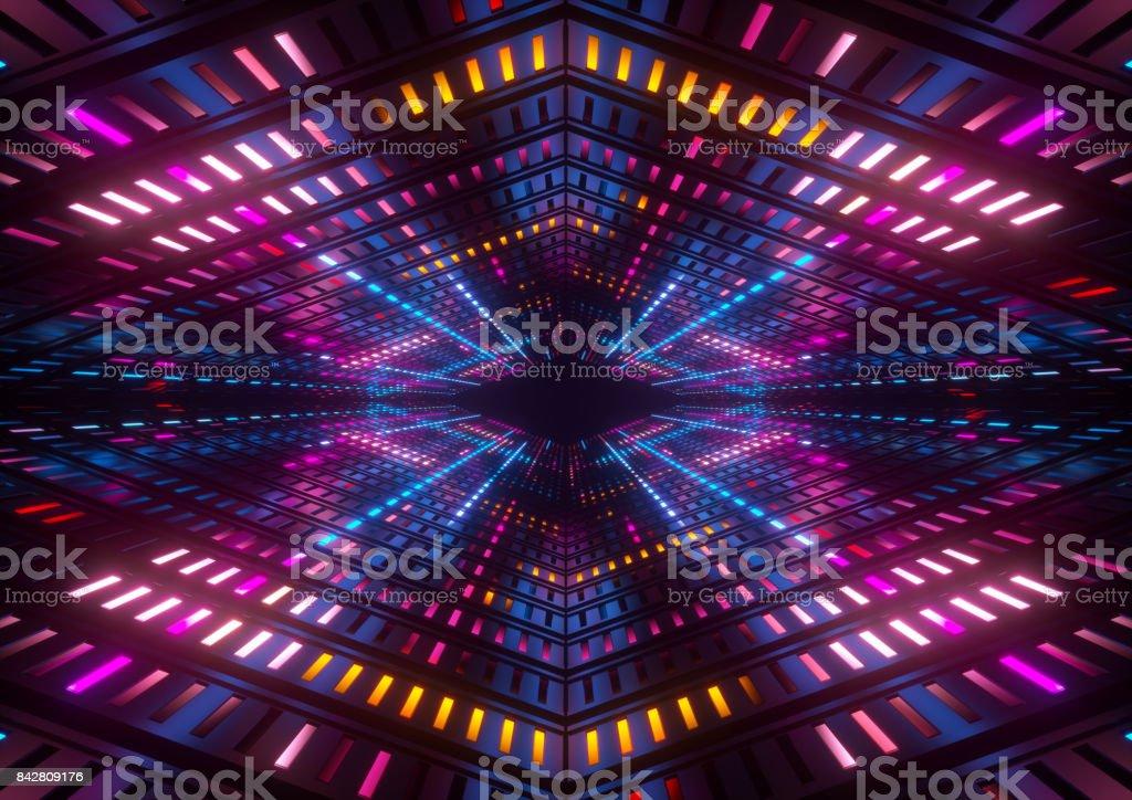 3D render, rosa azuis amarelos neon lights, túnel colorido brilhante abstrato geométrico - foto de acervo