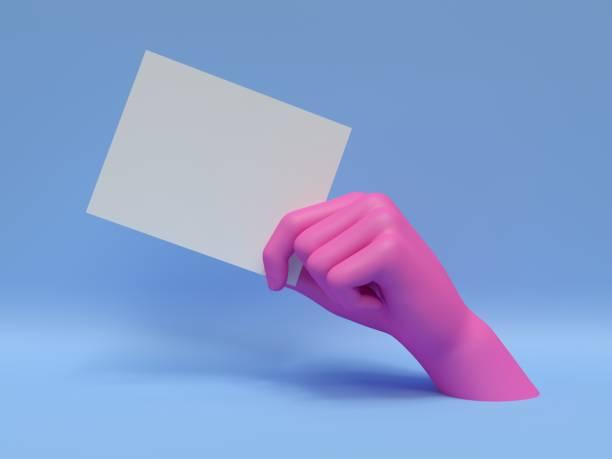 3d render, rose main tenant une carte vierge, isolée sur fond bleu, abstract fashion, affichage boutique, partie de corps de mannequin, show, présentation - art moderne photos et images de collection