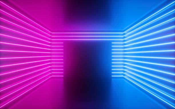 3d rendering, rosa neonlinien, quadratische form im leeren raum, virtueller raum, ultraviolettes licht, 80 jahre stil, retro-disco-club-interieur, modenschau-bühne, abstrakter hintergrund - arkade stock-fotos und bilder